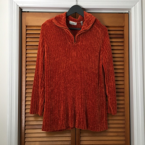 Lord & Taylor Sweaters - Lord & Taylor | Burnt Orange Half Zip Pullover
